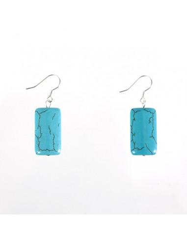 Boucles d'oreilles pierre couleur turquoise
