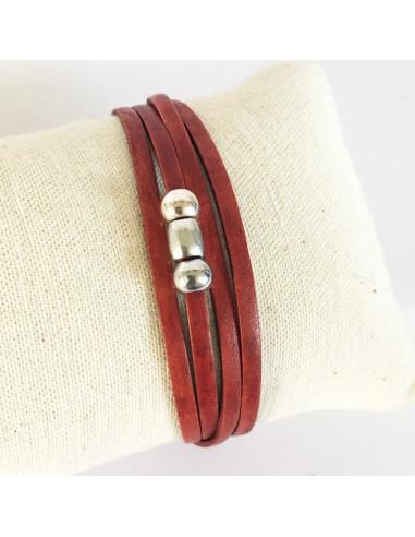 Bracelet cuir rouge vintage et perles plaqué argent