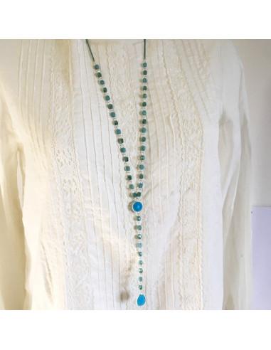 Colier sautoir perles de verre bleues et métal argenté-Aramance