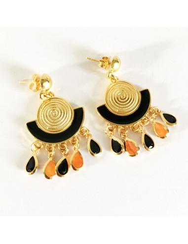 Boucles d'oreilles plaqué or,émail noir et gouttes de verre