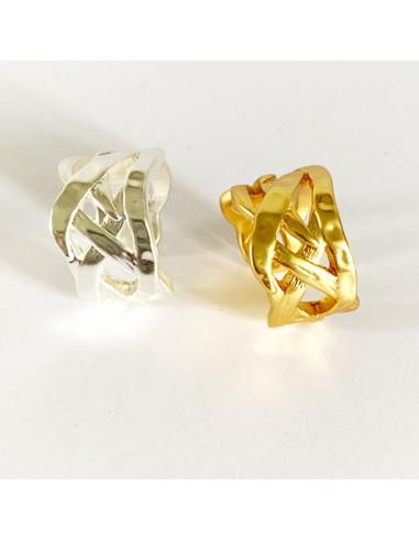 Bague design tressé, argenté ou doré-Aramance