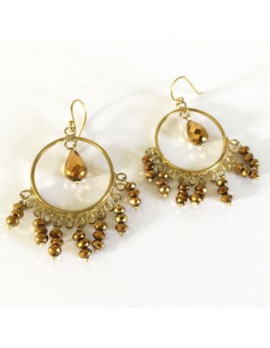 Boucles d'oreilles perles dorées sur anneau