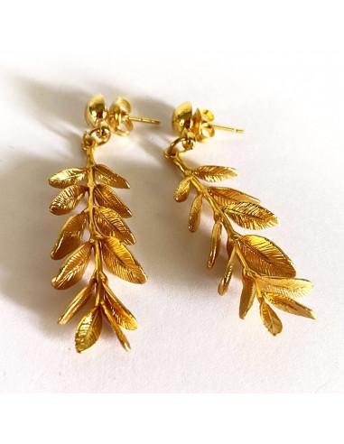 Boucles d'oreilles branche de feuilles 3D