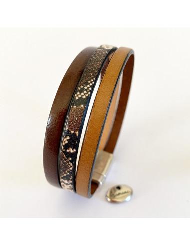 Bracelet-cuir-brun-imprimé-Aramance