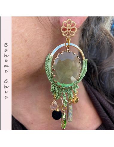 Boucles d'oreilles boheme chic vert kaki