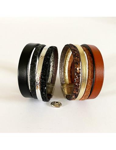 Bracelet manchette cuir tons bruns ou noirs sur fermoir plaqué argent
