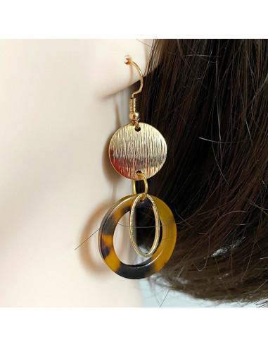 Boucles d'oreilles laiton doré et cercle brun