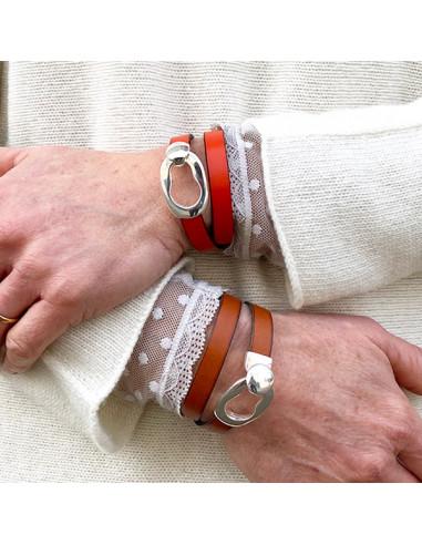 Bracelet-cuir-rouge-brun-boucle-fermoir-Aramance