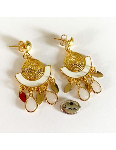 Boucles d'oreilles-laiton doré-émail blanc-Aramance