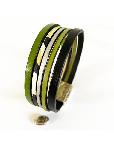 Bracelet-cuir-vert-noir-beige-Aramance