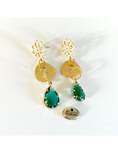 Boucles d'oreilles-larme verte-bouton doré-Aramance