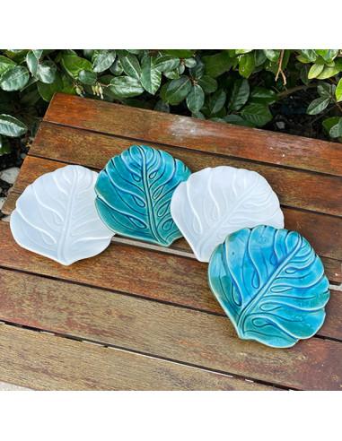 Coupelles-feuilles-ceramique-bleu-blanche-Aramance