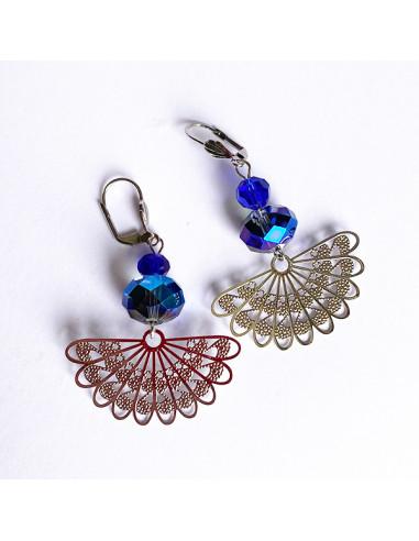 Boucles d'oreilles-perles bleues-metal argente-Aramance