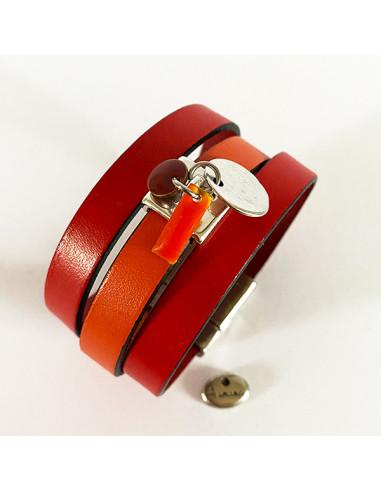 Bracelet-manchette-cuir-orange-rouge-Aramance