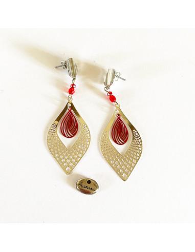 Boucles d'oreilles-larmes-métal argenté-rouge-Aramance