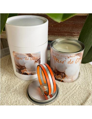 Fête des mères-bracelet cuir-orange-bougie-fleur de coton-Aramance