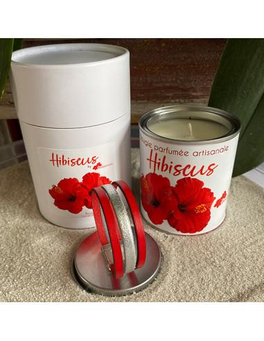 Fête des mères-bracelet cuir-rouge-bougie-fleur d'hibiscus-Aramance