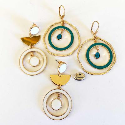 Boucles d'oreilles Aramance, argent plaqué, perles, cuir